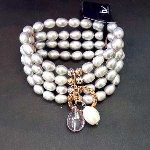 Bracciale 4 fili perle grigie