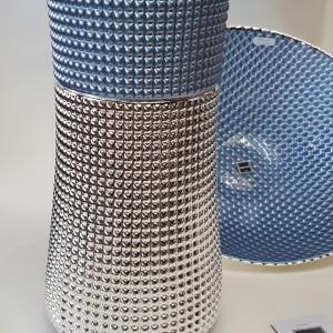 vaso blu ,argenesi, rivestito in argento 999
