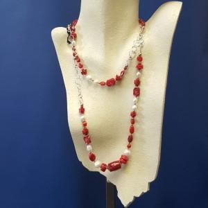 Collana corallo bambù e perle di fiume