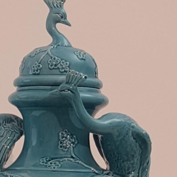 Potiche Pavoni turchese