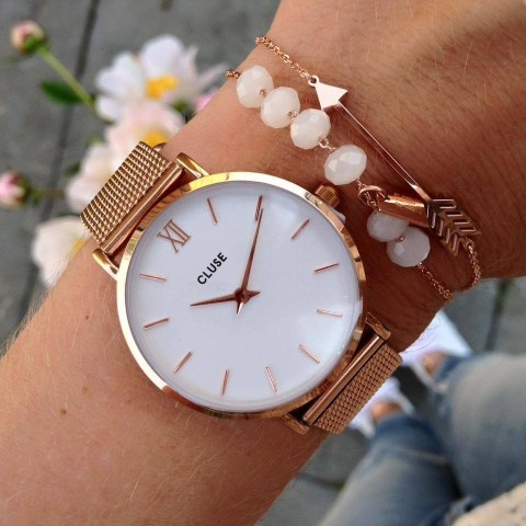 Cluse Minuit Mesh Rose Gold White