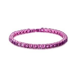 Tennis acciaio rosa e cristalli rosa