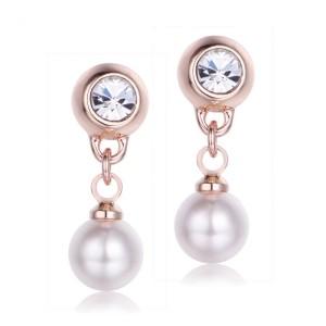 Orecchini di Perle rosa e Cristalli bianchi