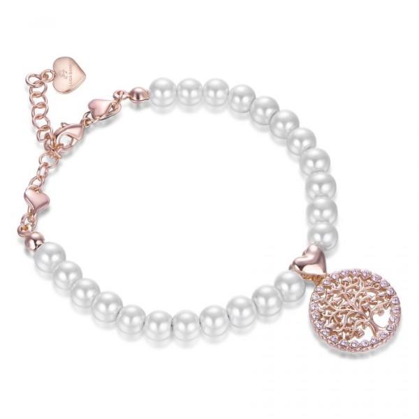Bracciale perle con Albero della Vita rosé