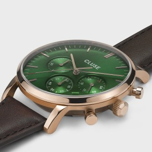 Aravis chrono leather rose gold green