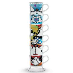 Set 6 tazze caffè impilabili Mickey e Minnie