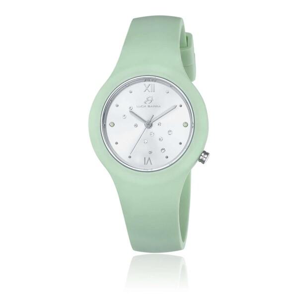 Orologio verde quadrante silver con cristalli